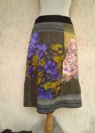 Хлопковая юбка из разноцветных лоскутов,м