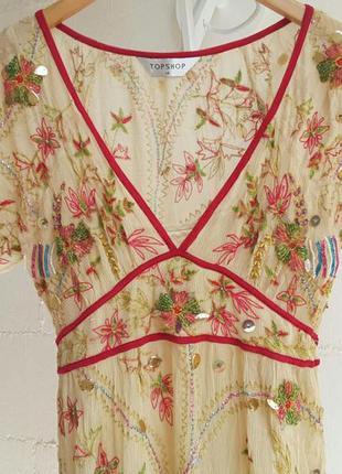 Шифоновое платье бохо topshop платье вышивка бисер стиль кантри