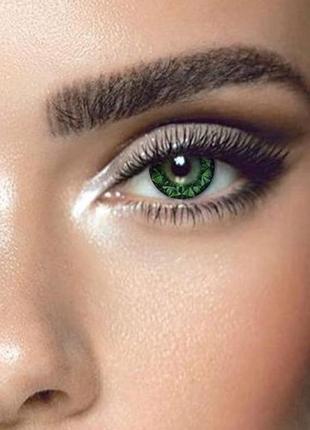 Цветные линзы для глаз кристал, зеленые + контейнер для линз в подарок