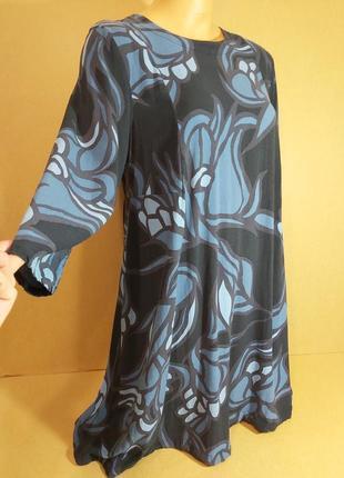 Платье трапеция h&m с длинным рукавом.  черно-синее платье-трапеция вискоза. платье миди