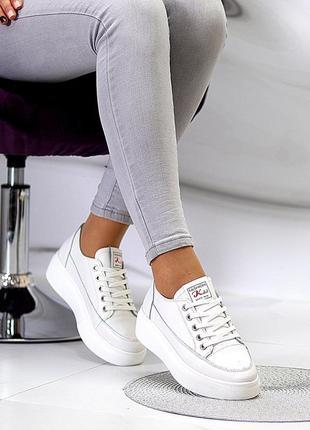 Кожаные женские белые кроссовки крипперы кеды