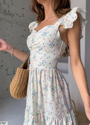 Сарафан в цветочный принт платье сукня