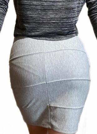 Gina tricot xs/s юбка женская классическая серая
