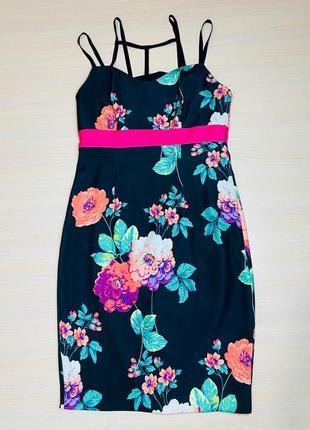 Летнее платье принт цветы