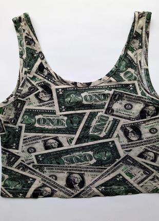 Топ майка с принтом купюры деньги доллары баксы