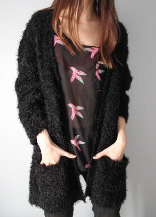 Черный теплый зимний вязаный пушистый кардиган свитер травка с карманами кофта