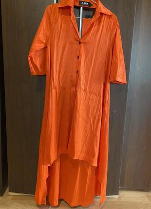 Платье туника оранжевая