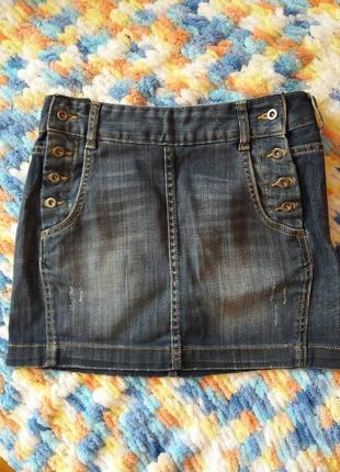 Джинсова джинсовая мини юбка спідниця