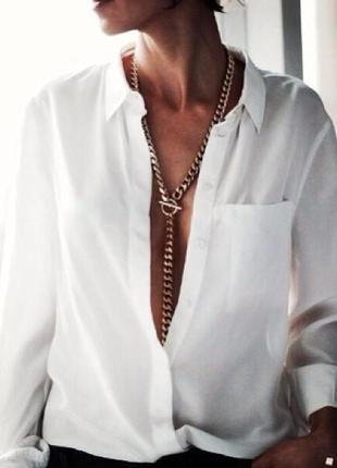 Белая рубашка свободный фасон размер м gap1 фото