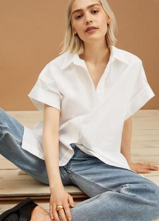 Белая оверсайз рубашка размер с-м h&m