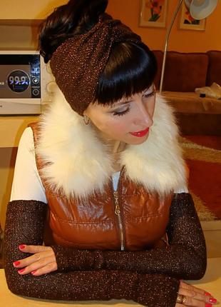 Вязаная повязка на голову и митенки - перчатки без пальцев - комплект free style