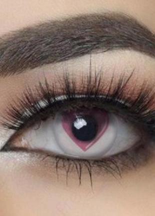 Линзы цветные для глаз, розовые сердечки+контейнер для хранения+набор для установки