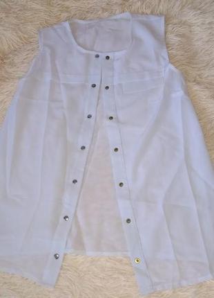 Новая белая шифоновая блузка безрукавка размер s польша
