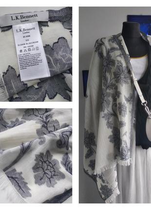 🌹☕️🛍 изящный цветочный летний шарф/палантин хлопок l.k. bennett 🌹☕️🛍