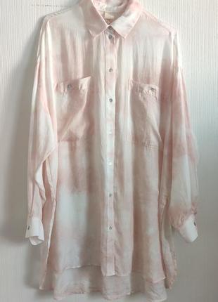 Легкая блуза из натуральной ткани и окрамом тай-дай