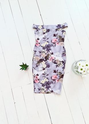 Платье в цветочный принт с оголегными плечиками. сукня в квітковий принт