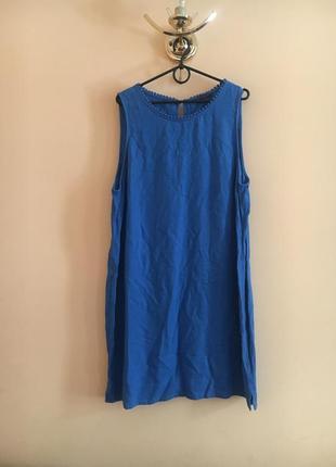 Батал большой размер классное стильное льняное летнее платье платьице плаття сукня