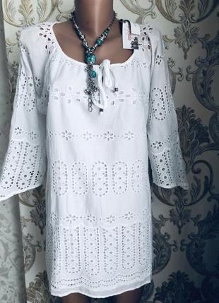 Блуза блузка туника можно пляжная прошва выбитая вышитая кружево модная стильная белая