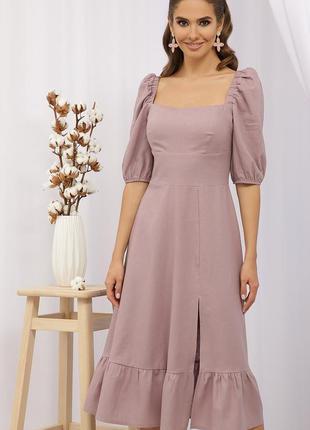 Лаконичное платье, лен/вискоза (4 цвета)
