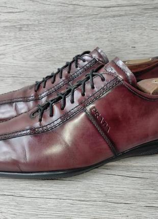 Prada 41p туфли мужские кожаные италия