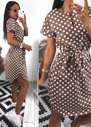 Женское летнее короткое платье миди под пояс