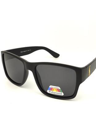Солнцезащитные очки квадратной формы «polo» c черной матовой роговой оправой и черной линзой