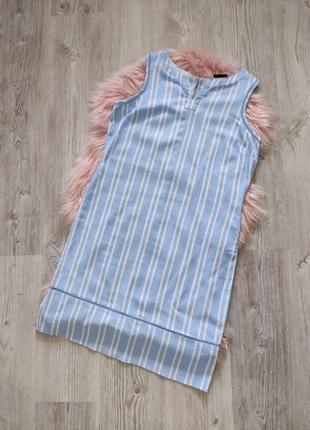 Льняное голубое полосатое прямое платье прямого кроя лен в полоску