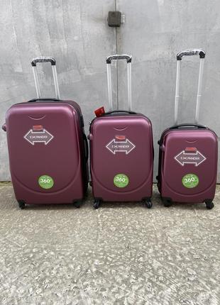 Чемодан пластиковый на колёсах, дорожный чемодан, валіза пластикова на колесах