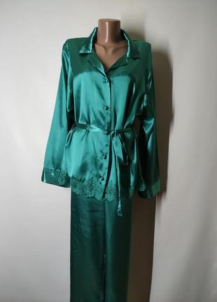 Атластная пижама цвета морской волны