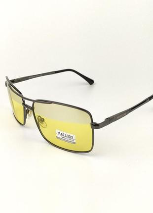 Солнцезащитные очки квадратной формы «sea» с черной металической оправой и желтой линзой