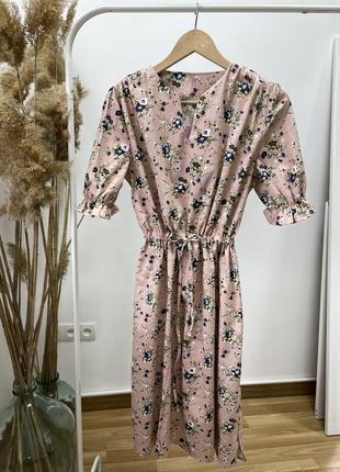 Женское льняное платье на кулиске с цветочным принтом, цвет бежевый! ликвидация остатков