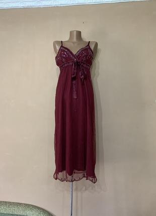 Нежное  платье    сарафан  винтажное вышито бисером    l