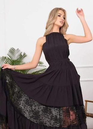 Платье в пол, вечернее платье, платье с кружевом , черное платье, сарафан в пол