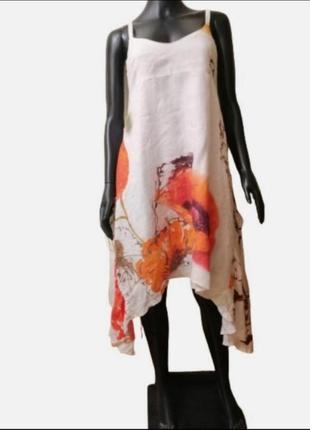 Яркое платье лето лен