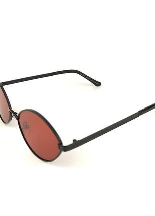 Солнцезащитные очки овальной формы «bonny» с черной металлической оправой