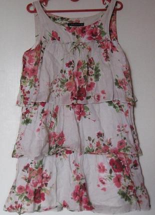 Платье многоярусное в цветах коттон лен рами