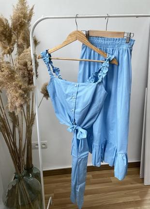 Летний женский костюм топ на завязках и юбка, цвет голубой! ликвидация остатков