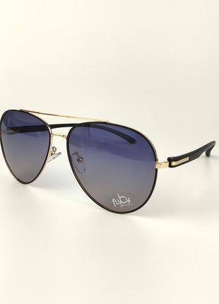 Солнцезащитные очки-авиаторы flyby «milan» с черно-золотой металлической оправой