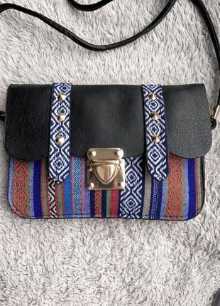 Сумка маленькая сумочка через на плечо плече конверт листоноша в этно стиле разноцветная вышивка с шипами