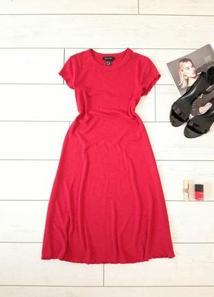 Стильное платье мидакси в рубчик_трикотаж_красивый красный_💄👠..# 250