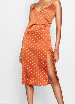 Boohoo новое платье сатин рр 12 миди
