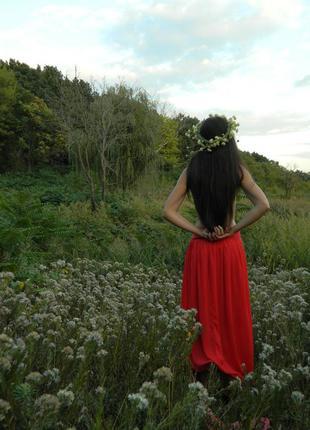 Алая юбка в пол,макси,красная юбка шифон,длинная юбка
