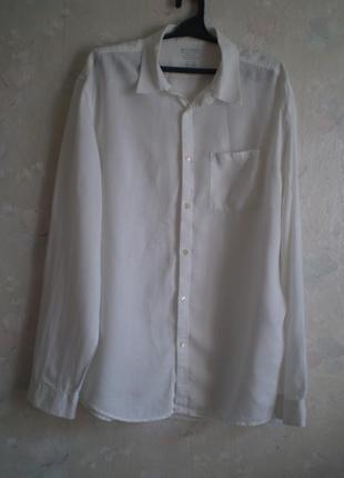 Белая мужская льняная рубашка gap  р.50-52 лен