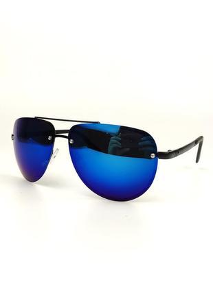 Солнцезащитные очки-авиаторы «classic» в черной металлической оправе с зеркальной линзой
