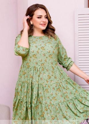 Воздушное летнее платье-сарафан в цветочный принт 50-52,54-56,58-60,62-64 (1015)