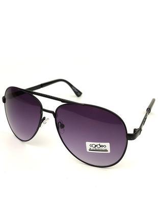 Солнцезащитные очки-авиаторы «classic» в черной металлической оправе с фиолетовой градиентной линзой