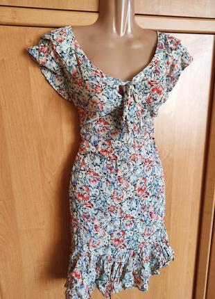 Отличные платье на лето цветочный принт рюши, вискоза
