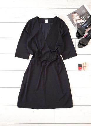 Базовое стильное летнее черное платье миди..# 608