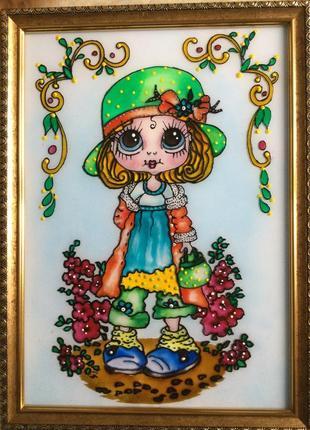 Витражная картина на стекле (девочка с цветами)