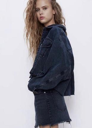 Шикарная укорочёная джинсовка куртка оверсайз от topshop